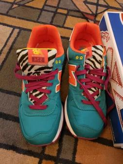 New Balance 574 Women 11 Green Orange Purple running tennis
