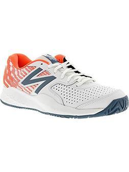 New Balance Women's 696v3 Hard Court Tennis Shoe, White, 6 B