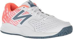 New Balance Women's 696v3 Hard Court Tennis Shoe, White, 9 D