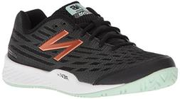 New Balance Women's 896v2 Tennis Shoe, Black/Seafoam, 9 D US