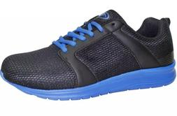 ATHLETIC WORKS 9W MENS Running Tennis SHOES Mesh BLACK BLUE