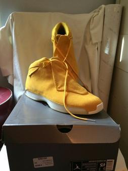 Nike Air Jordan 18 Retro Tennis Shoes Yellow Suede Size 12 N