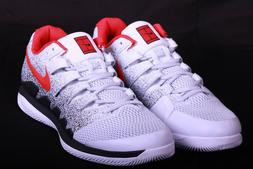 Nike Air Zoom Vapor X HC Mens Pure Platinum Red Tennis Shoes