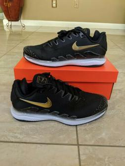 Nike Air Zoom Vapor X Knit Black Metallic Gold Tennis Shoes