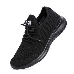 ALEADER Women's All Black Work Shoes Comfy Knit Tennis Walki