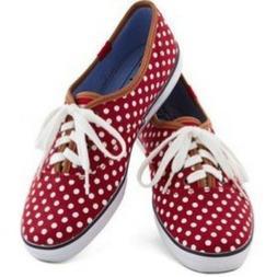 Brand New KEDS Champion Dot Red White Polka Canvas Tennis Sh