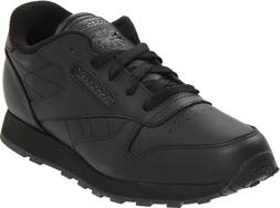 Reebok Classic Leather Shoe,Black/Black/Black,5.5 M US Big K