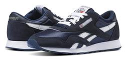 Reebok Classic Nylon Navy, Platinum Mens Running Tennis Shoe