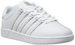K-Swiss Classic Vintage GS Tennis Shoe ,White/White,4 M US B