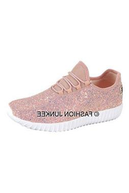 Dusty Rose Pink Glitter Bomb Sneakers Tennis Shoes Lace Up F