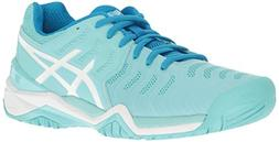 ASICS Women's Gel-Resolution 7 Tennis Shoe, Aqua Splash/Whit