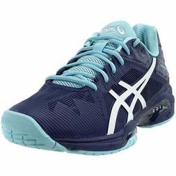 ASICS Gel-Solution Speed 3  Athletic Tennis Court Shoes Navy