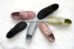 Glitter Sneakers Tennis Shoes Lace Up Flats Comfortable Ligh