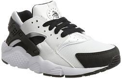 Nike Kid's Huarache Run GS, WHITE/BLACK-WHITE, Youth Size 3.