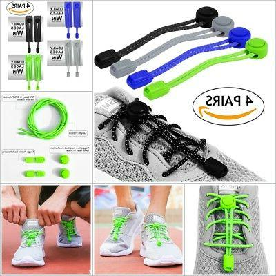 4 x Elastic Shoe Laces for Kid Lock Tie Runners Athletes Sne