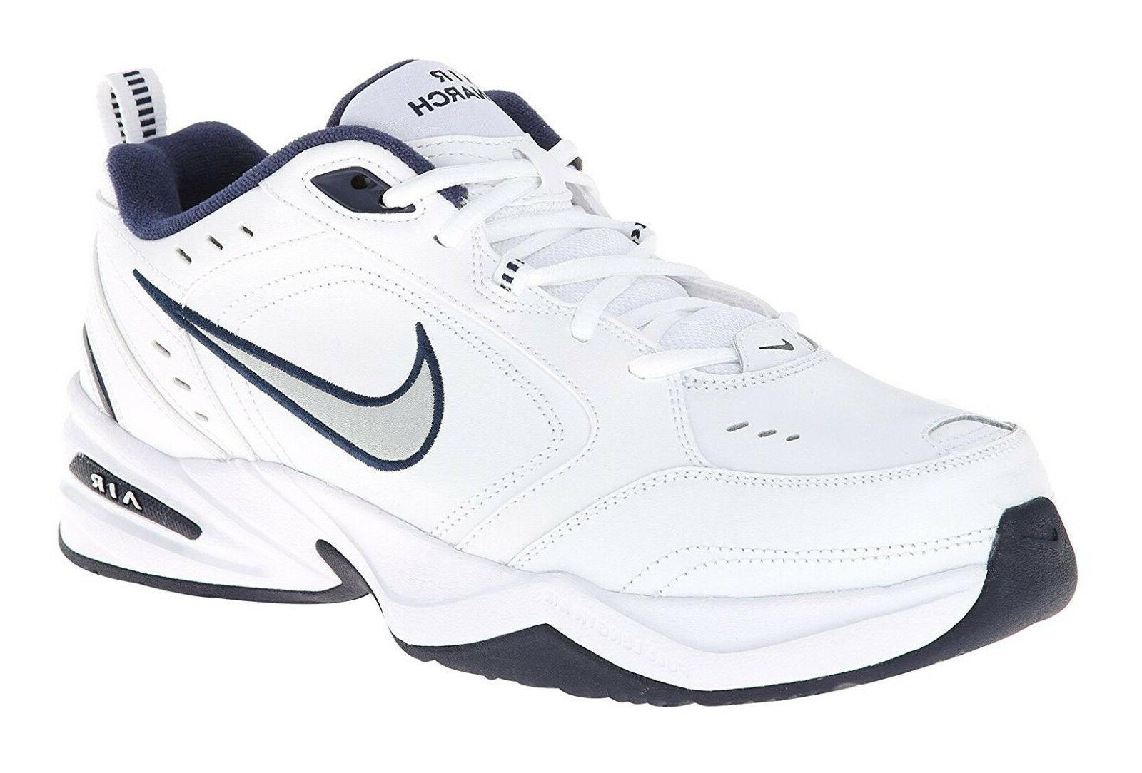 Nike Air Monarch IV White, Silver, Navy Mens Training Sneake