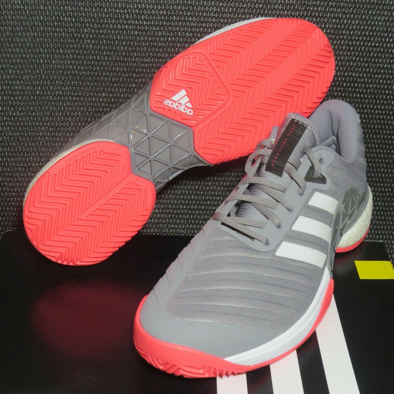 adidas Barricade Boost AH2094 Size Mens Tennis Shoes Grey/White/Pink