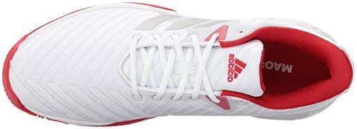 adidas Performance Court 3 Tennis White/Matte Silver/Scarlet, 10.5 US