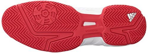 adidas Court Tennis Shoe, White/Matte Silver/Scarlet, US