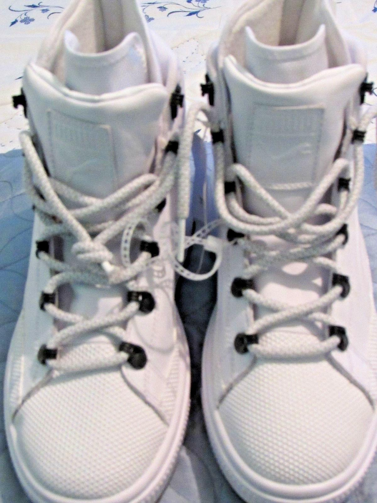 boys white high top leather tennis shoes