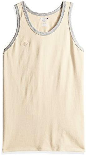 Champion Men's Classic Cotton Ringer Tank Puddy Sand/Oxford