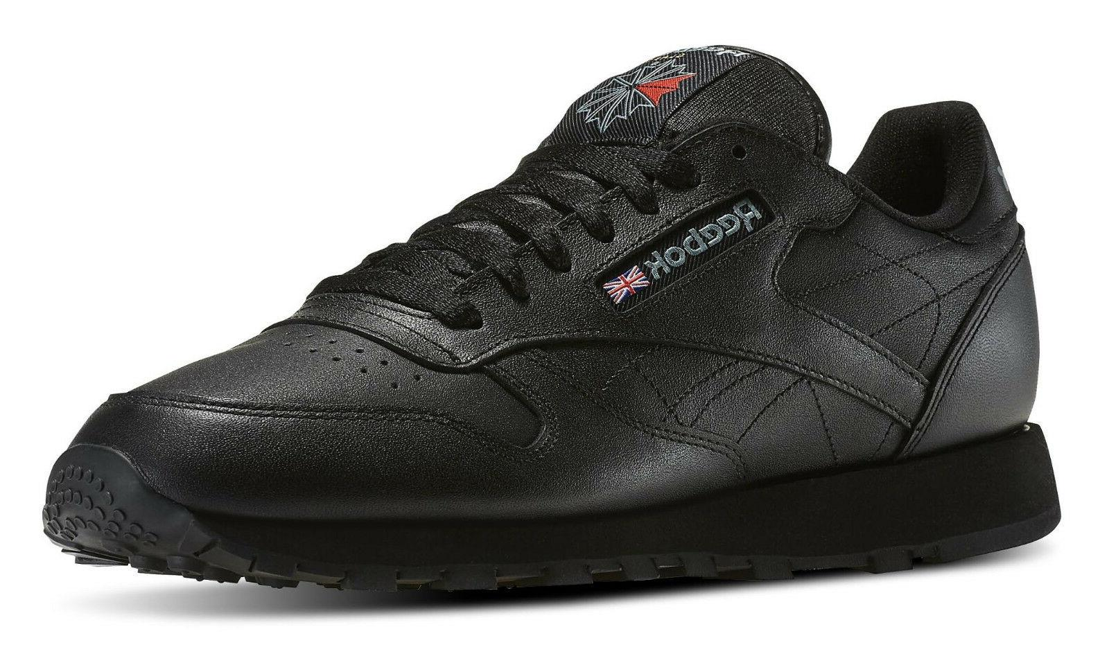 classic leather black mens running tennis shoes