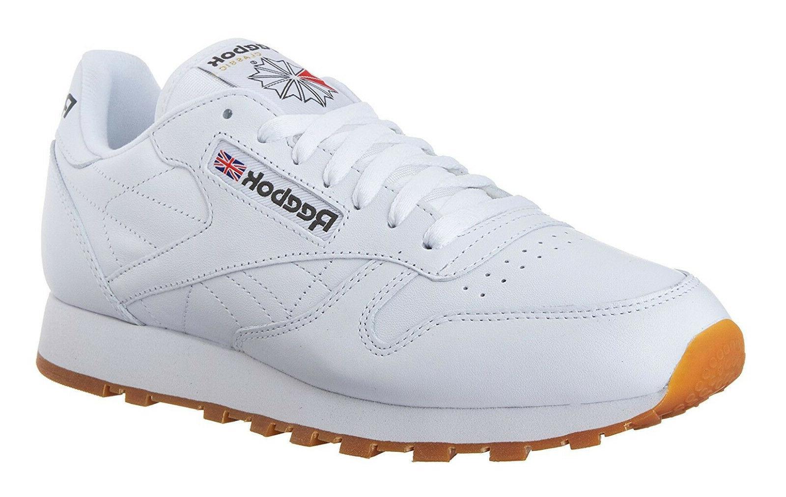 classic leather white gum mens running tennis