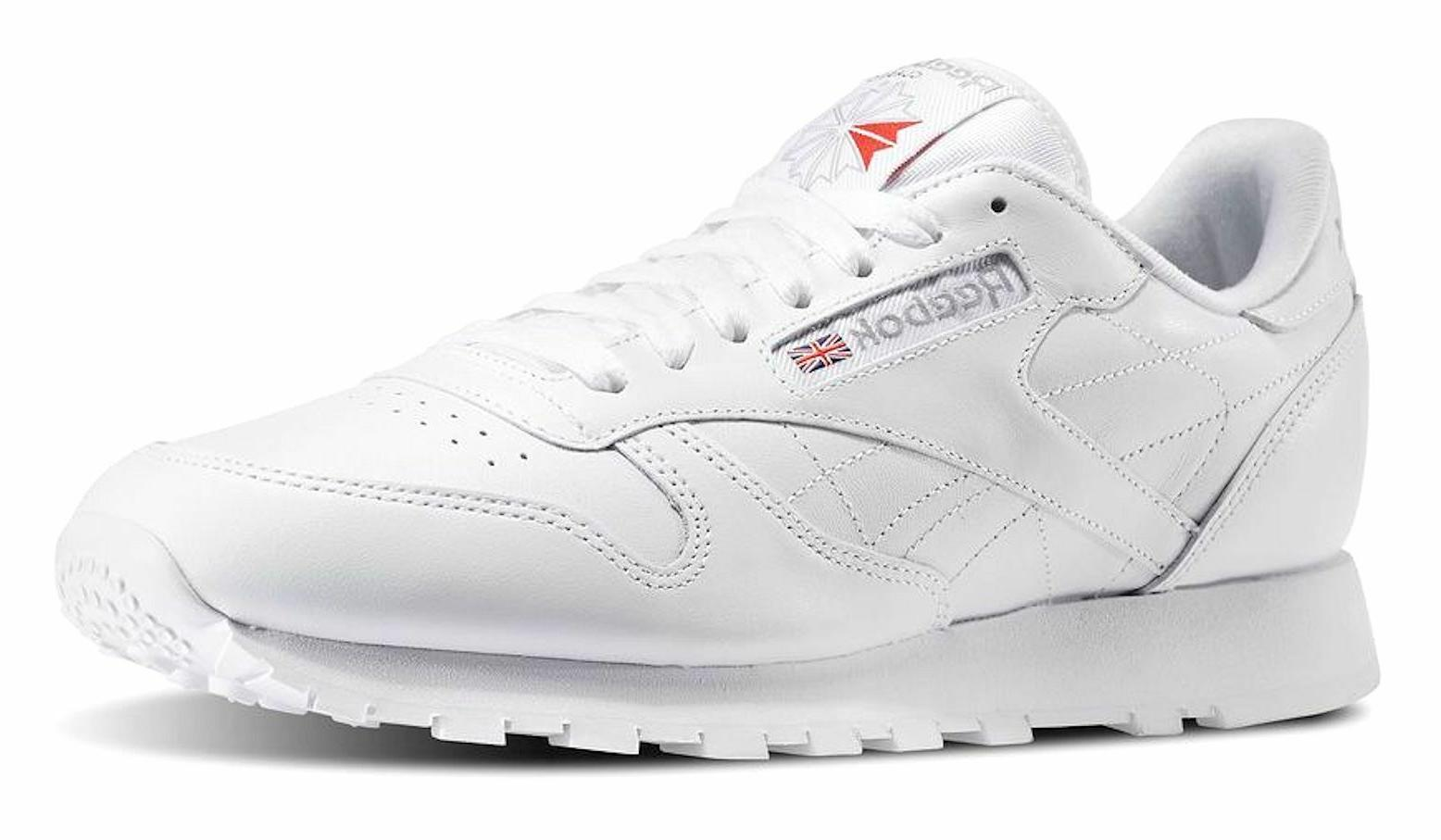 Reebok Classic Leather White, Light Grey Mens Running Tennis