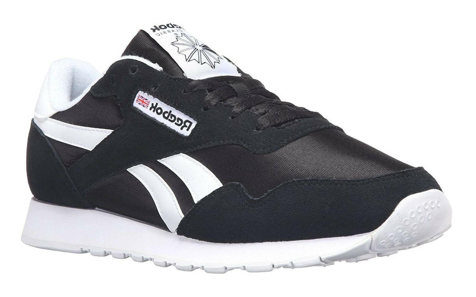 Reebok Classic Nylon Black White Mens Running Tennis Shoes I