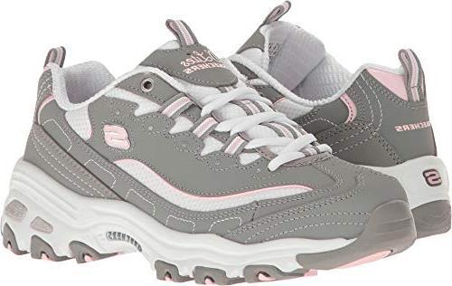 34ca8ab9aa2e2 Skechers Sport Women's D'Lites Memory Foam Lace-up Sneaker,Biggest Fan  Grey/White,7.5 M US