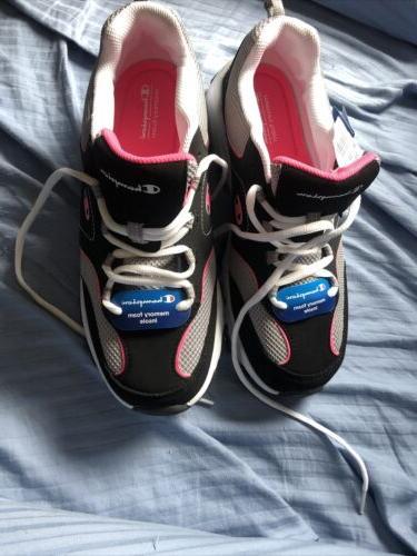 Champion Black Gray Pink Foam Shoe NWT