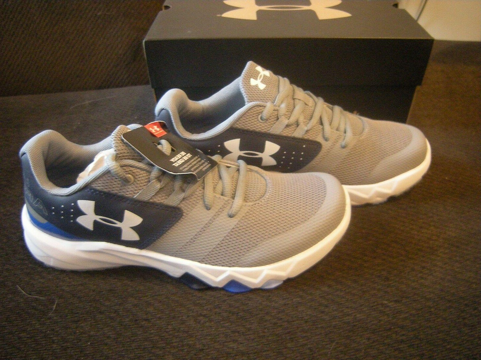 New Boys Gray, White & Blue Under Armour Primed Tennis Shoes