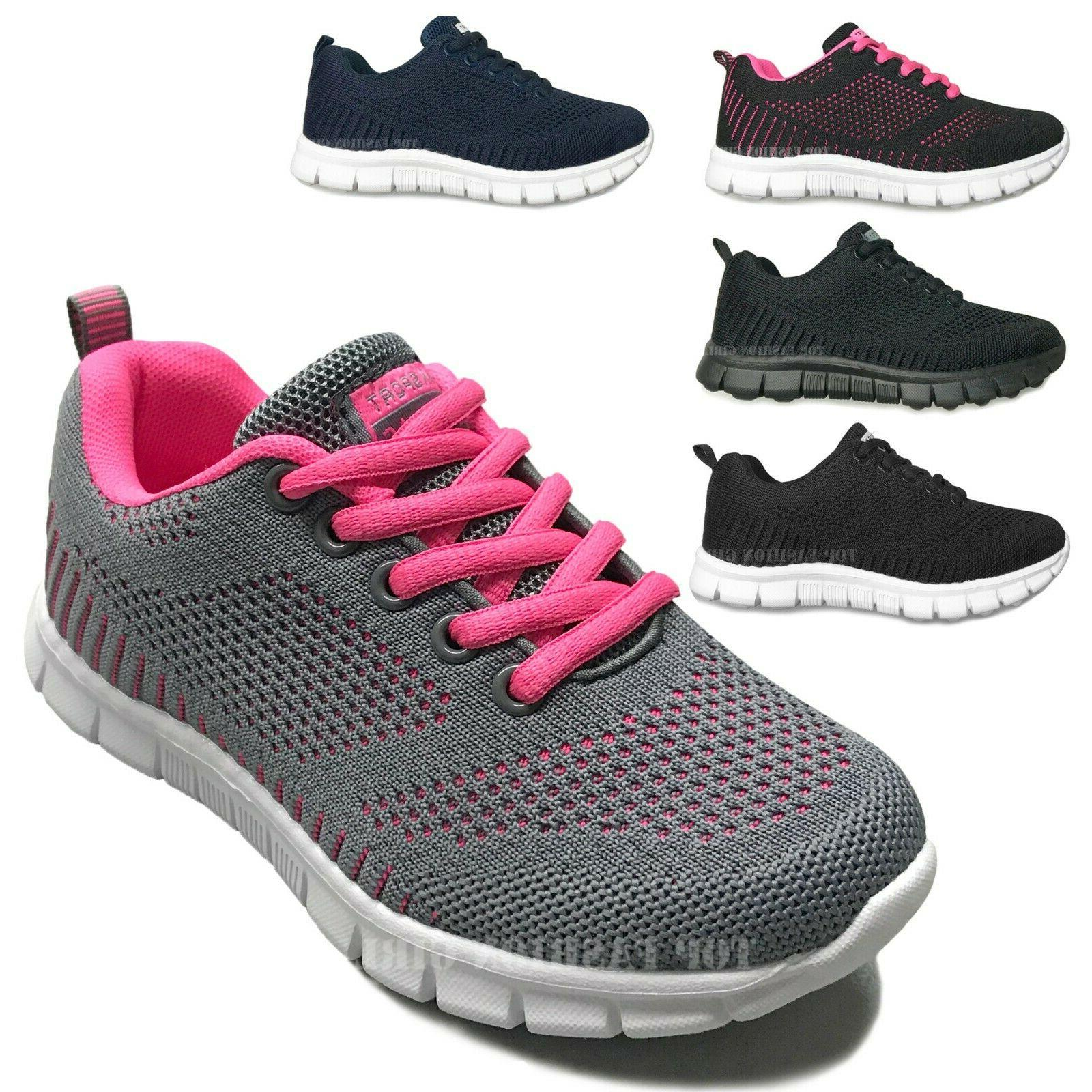 NEW Kids Girls Mesh Lace Up Sporty Shoes Size