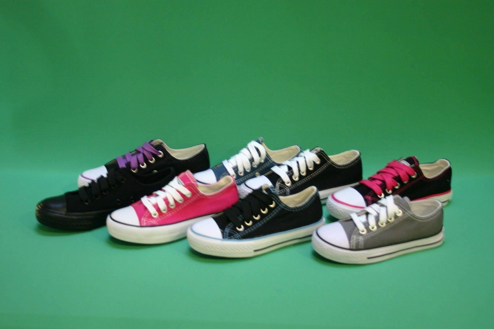 New Women Girls Canvas Sneakers Classic Lace Up Shoes Casual