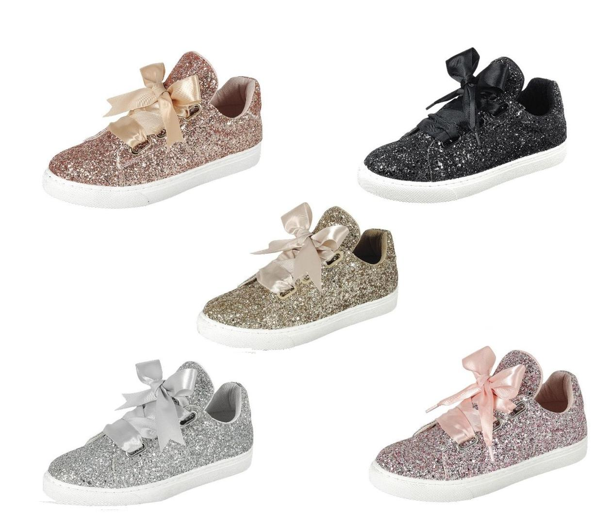 New Womens Sequin Casual Lace Up Tennis Shoes Glitter All Ov