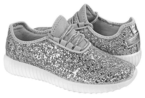 Forever Link Women's REMY-18 Glitter Fashion Silver 10