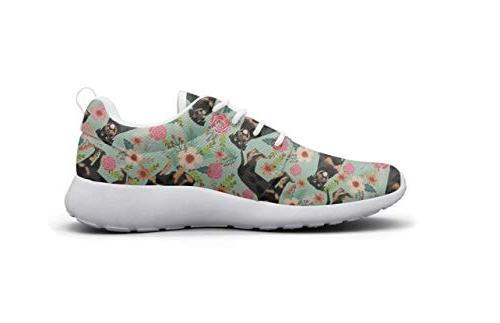 LOKIJM Floral Print Tennis for Athletic Walking Shoes