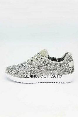 silver glitter bomb sneakers tennis shoes lace