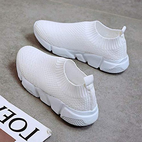 Hee Slip-on Flats Casual Tennis Sneakers Lightweight Running Shoes Shoes White
