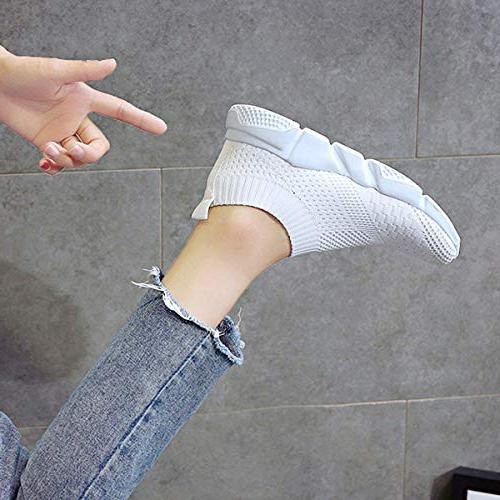 Hee Women's Flats Casual Lightweight Shoes Summer Running Shoes Shoes White