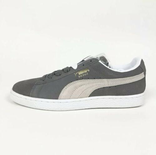 suede classic steeple gray low tennis shoes