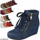 women high top wedge heel sneakers platform