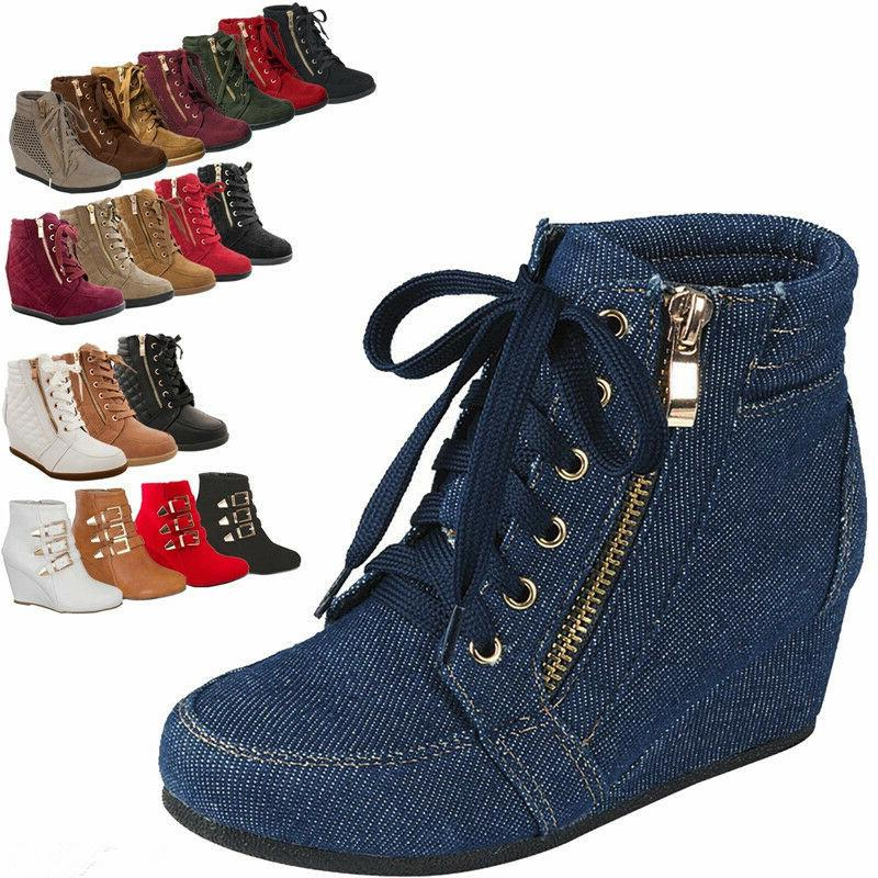 Women High Top Wedge Heel Sneakers Platform Lace Up Tennis A