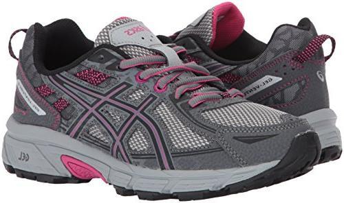 ASICS Gel-Venture Running-Shoes,Carbon/Black/Pink Medium