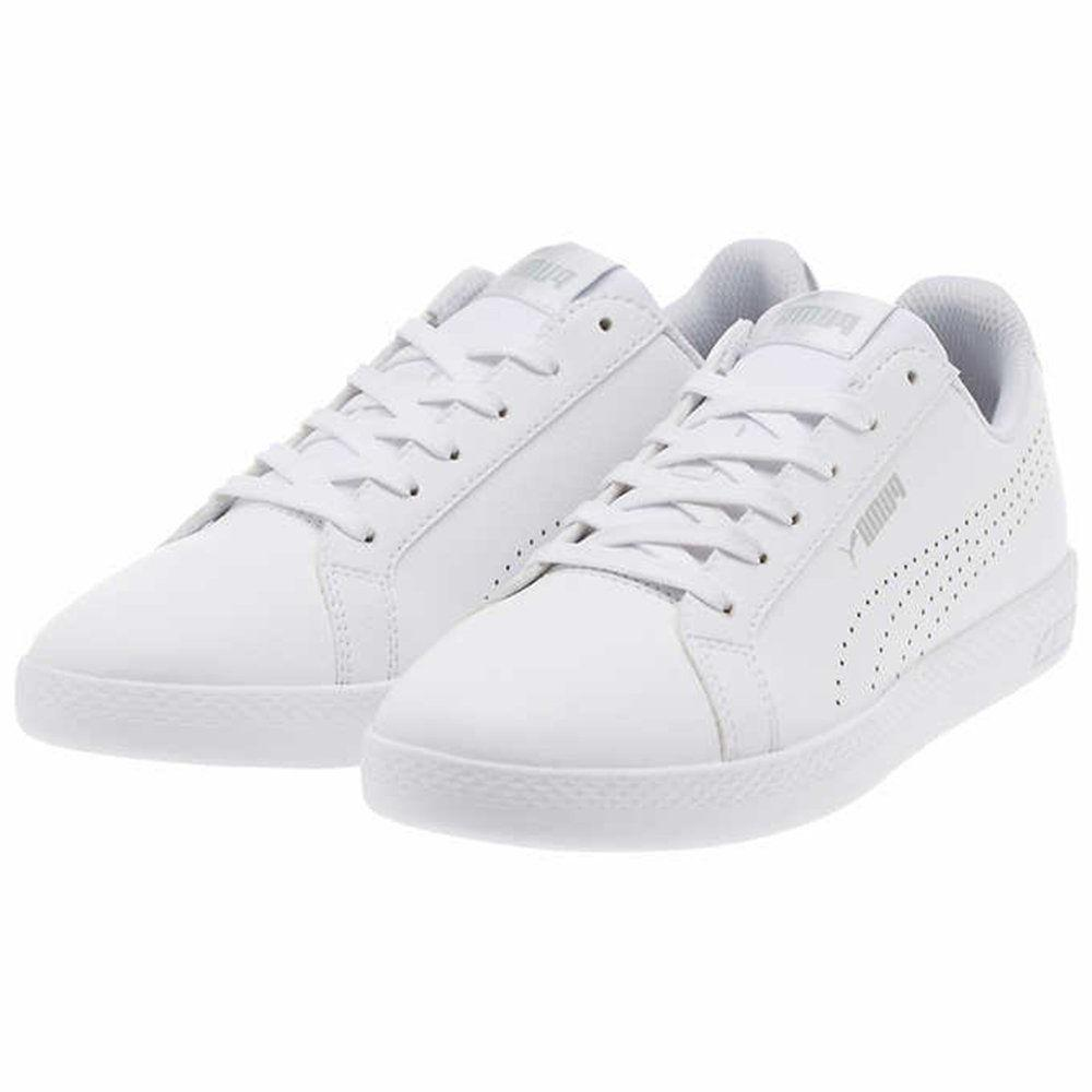 PUMA Women's Smash WNS Perf Leather White Silver Metallic Sn