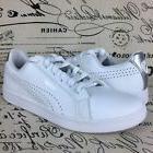 PUMA Women Smash Perf Leather White Silver Metallic Sneaker