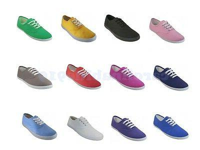 womens classic canvas plimsoll shoes casual sneakers