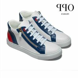 OPP France Leather Sneakers Tennis Shoes High Top New in Box