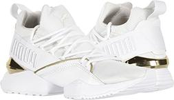 PUMA Women's Muse Maia Varsity Puma White/Metallic Gold 9.5