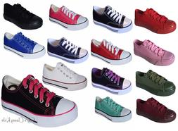 New Boys Girls Youth Classic Low Top Canvas Tennis Shoes Lac